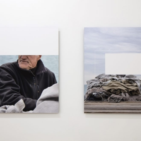 """SMERGHETTO TIME (behind his back) 2016 - Photographic print on cotton paper –90x72 cm each – C.sy Galleria Raucci/Santamaria Napoli/Milano – Photo Amedeo Benestante Napoli"