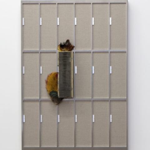 """Replica 8"" 2016 - linen on stretcher, CNC-cut aluminium, pheasant feathers - 100 x 70 cm C.sy Raucci/Santamaria Gallery Naples / Milan - Photo Amedeo Benestante Naples"